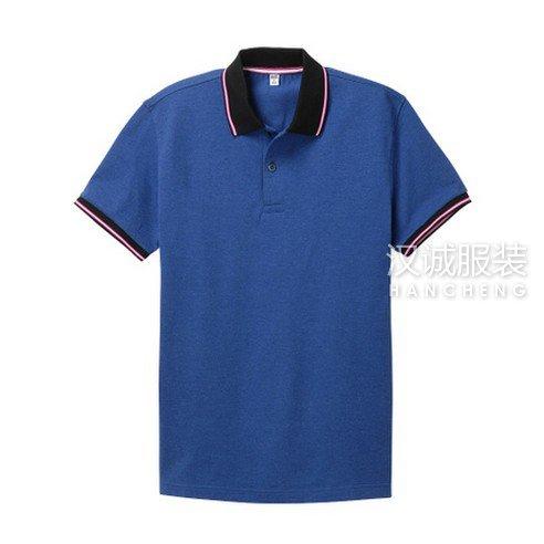 宝蓝色纯棉T恤衫