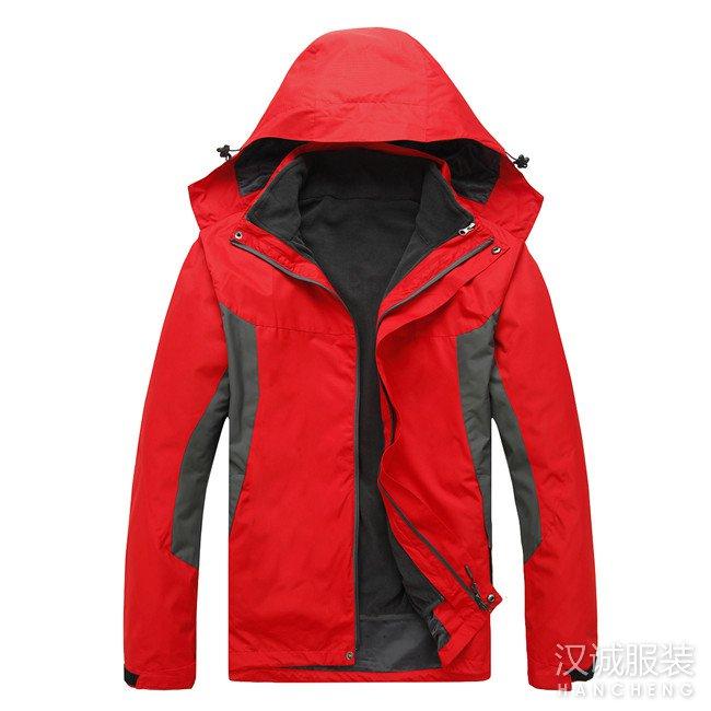 大红色两件套冲锋衣