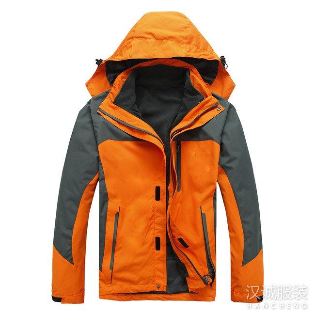橘黄色两件套冲锋衣
