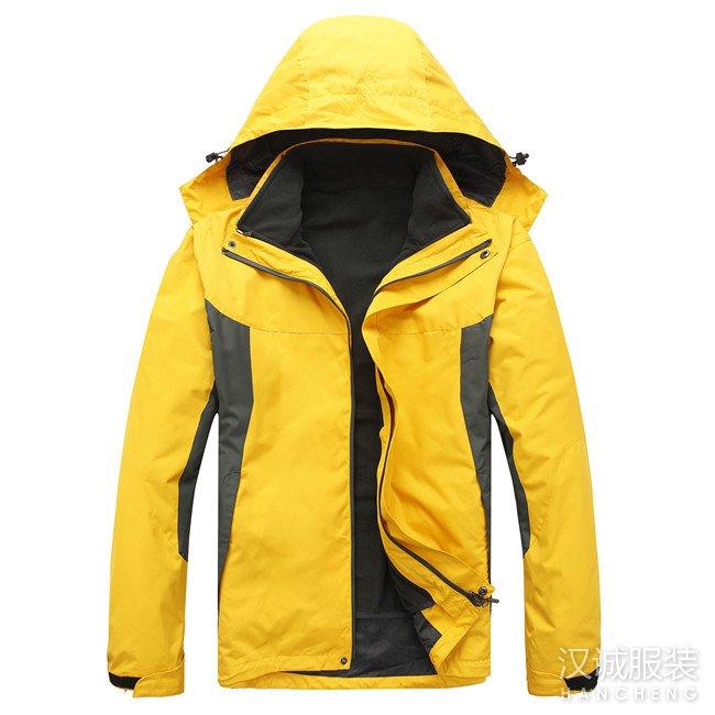 大黄色两件套冲锋衣